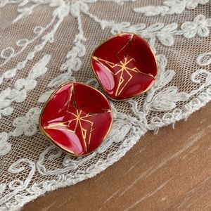 ❤️ Vintage Red Ceramic Clip On Earrings ❤️